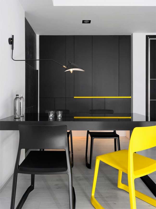 thiet ke noi that can ho chung cu 07 Thiết kế căn hộ chung cư với màu sắc tương phản theo phogn cách hiện đại