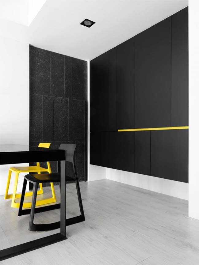 thiet ke noi that can ho chung cu 08 Thiết kế căn hộ chung cư với màu sắc tương phản theo phogn cách hiện đại