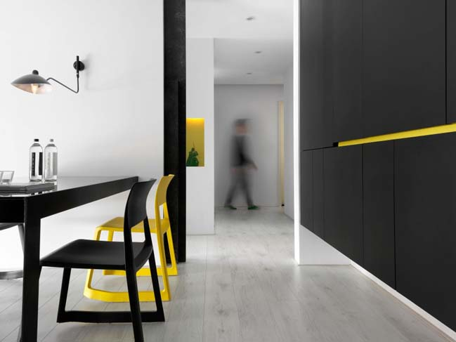 thiet ke noi that can ho chung cu 10 Thiết kế căn hộ chung cư với màu sắc tương phản theo phogn cách hiện đại
