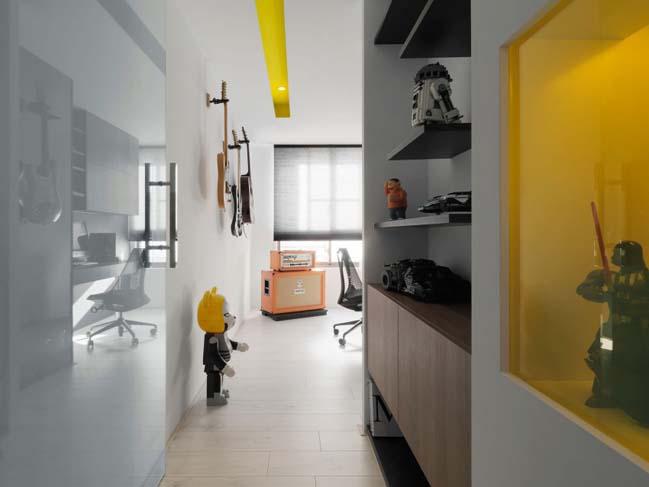 thiet ke noi that can ho chung cu 14 Thiết kế căn hộ chung cư với màu sắc tương phản theo phogn cách hiện đại