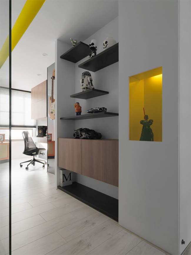 thiet ke noi that can ho chung cu 15 Thiết kế căn hộ chung cư với màu sắc tương phản theo phogn cách hiện đại