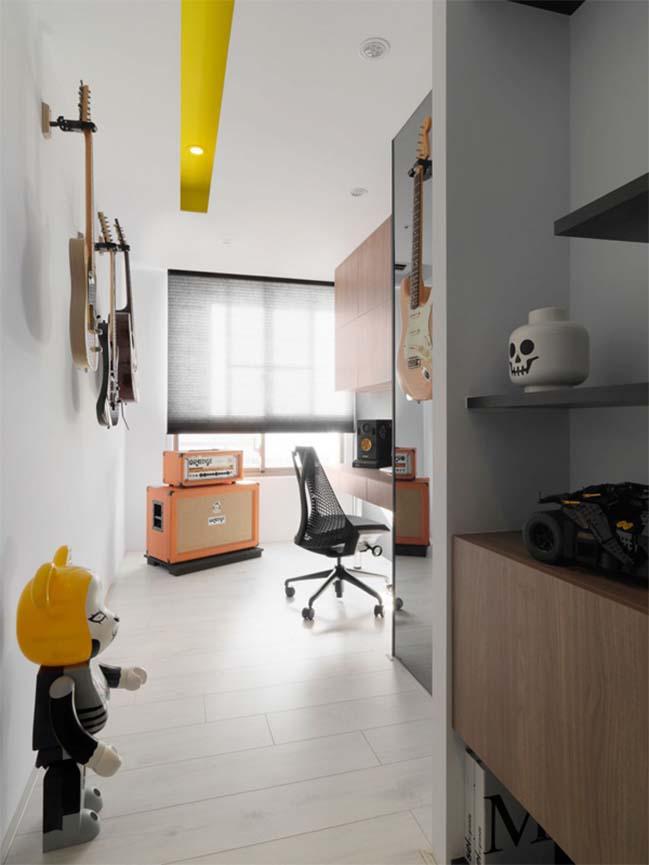 thiet ke noi that can ho chung cu 16 Thiết kế căn hộ chung cư với màu sắc tương phản theo phogn cách hiện đại