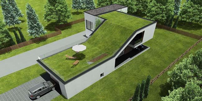 Thiết kế nhà đẹp với sân vườn khổng lồ trên mái