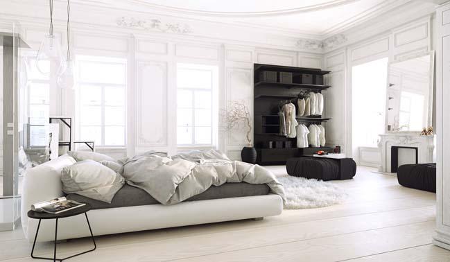 Phòng ngủ đẹp với sự kết hợp giữa hiện đại và cổ điển