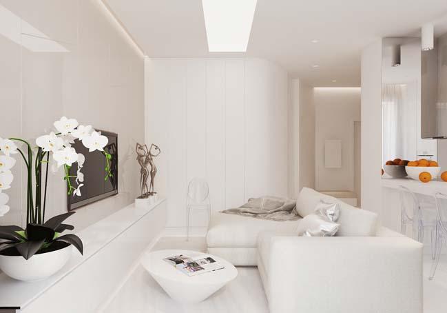 Căn hộ 62m2 với nội thất trắng kiêu sa
