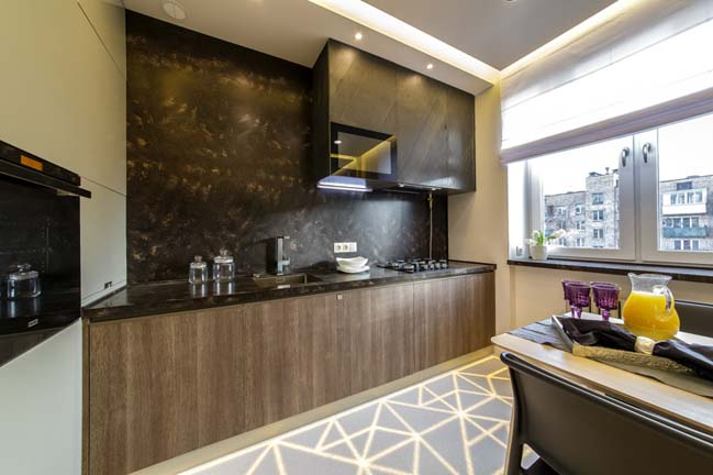 Thiết kế nhà bếp đẹp với sàn nhà phát sáng