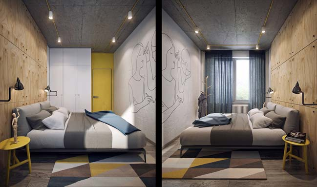 Căn hộ nhỏ 1 phòng ngủ với nội thất ấm cúng
