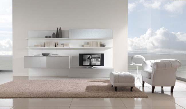 12 mẫu phòng khách đẹp tối giản với tông màu trắng