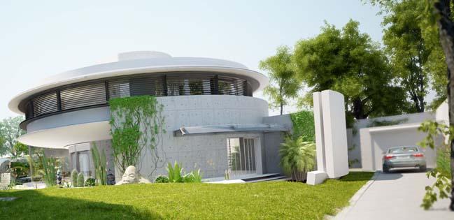 thiet ke biet thu dep hinh tron 01 Thiết kế biệt thự đẹp với kiến trúc hình tròn đẹp mắt