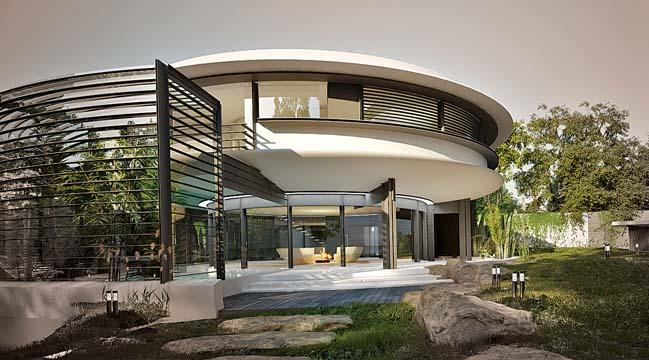 thiet ke biet thu dep hinh tron 05 Thiết kế biệt thự đẹp với kiến trúc hình tròn đẹp mắt