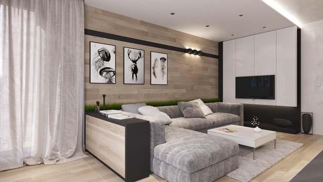 Mẫu căn hộ cao cấp với nội thất gỗ ấm cúng