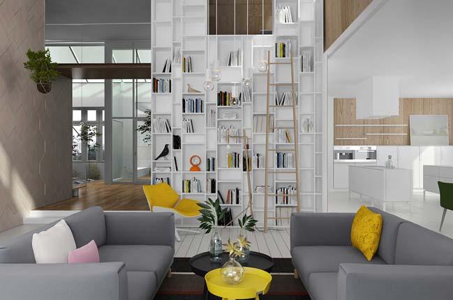 Nội thất nhà đẹp 2 tầng với không gian xanh xen kẽ