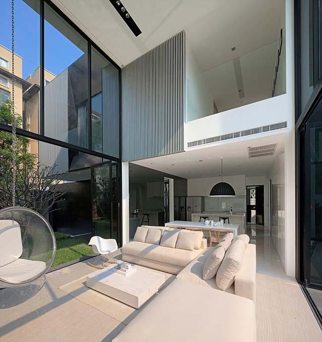 biet thu dep hinh chu l 07 Thiết kế biệt thự đẹp với kiến trúc hình chữ L hiện đại