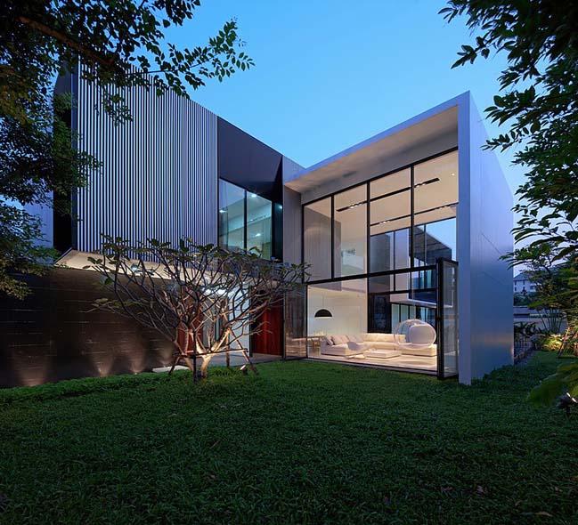 biet thu dep hinh chu l 17 Thiết kế biệt thự đẹp với kiến trúc hình chữ L hiện đại