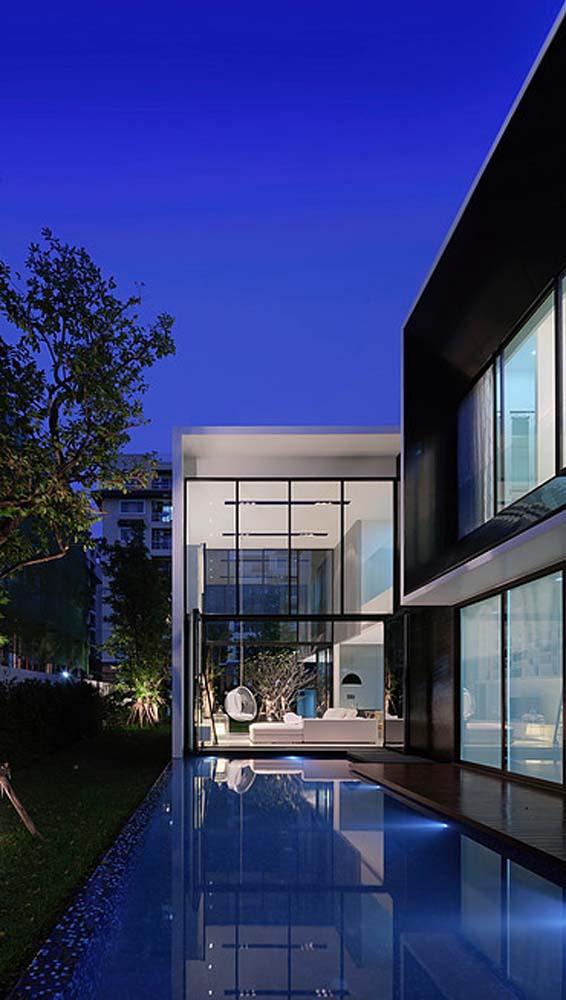 biet thu dep hinh chu l 18 Thiết kế biệt thự đẹp với kiến trúc hình chữ L hiện đại