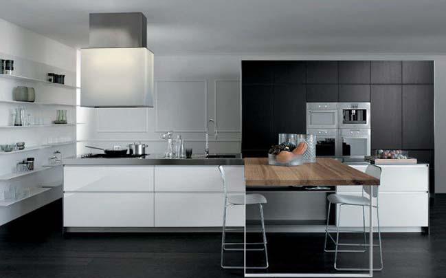 16 mẫu nhà bếp đẹp với 2 màu đen trắng