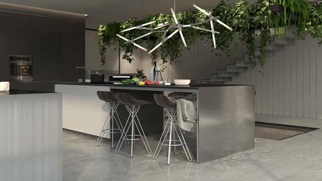 nha bep dep voi khong gian xanh 01 Những mẫu nhà bếp đẹp hiện đại với không gian xanh tươi mát trong nhà