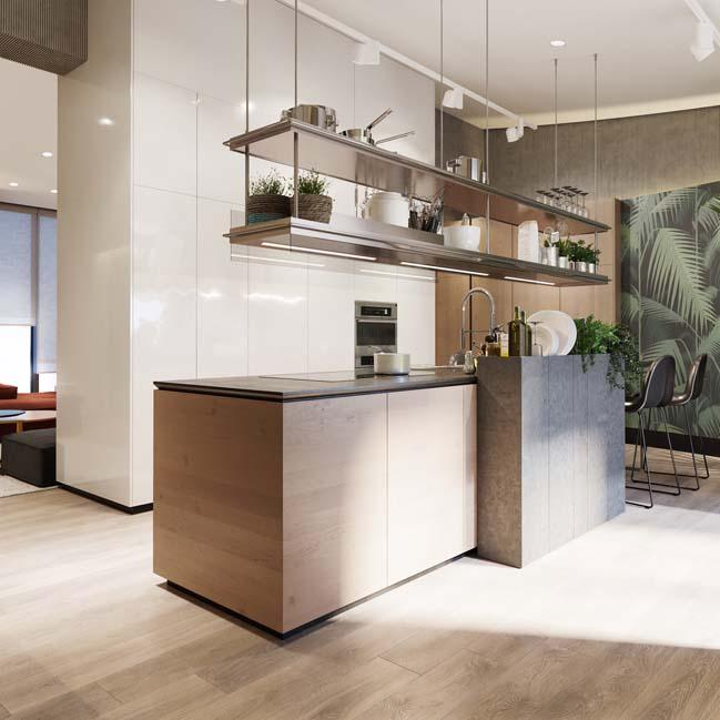 nha bep dep voi khong gian xanh 07 Những mẫu nhà bếp đẹp hiện đại với không gian xanh tươi mát trong nhà