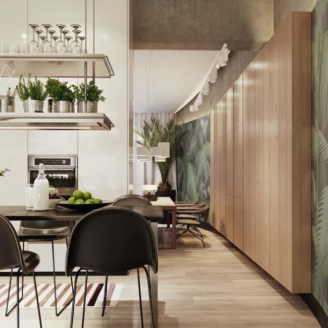 nha bep dep voi khong gian xanh 09 Những mẫu nhà bếp đẹp hiện đại với không gian xanh tươi mát trong nhà