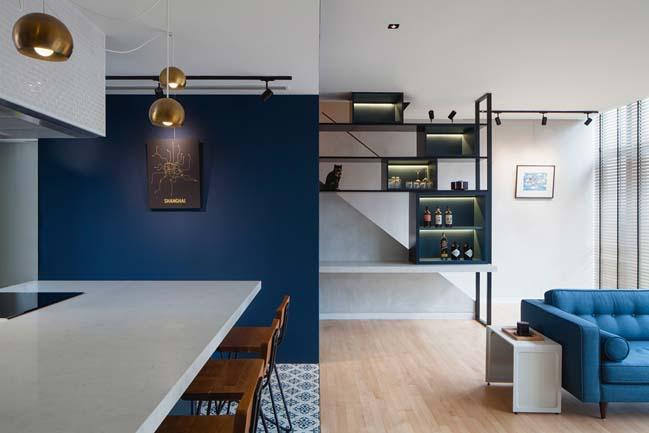 Mẫu nhà đẹp 2 tầng với 2 màu xanh và đen chủ đạo