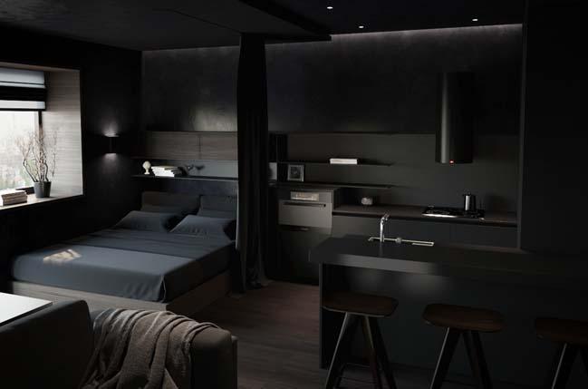 can ho chung cu voi noi that mau den 01 Ấn tượng căn hộ chung cư với nội thất và tường tạo có màu đen sâu thăm thẳm