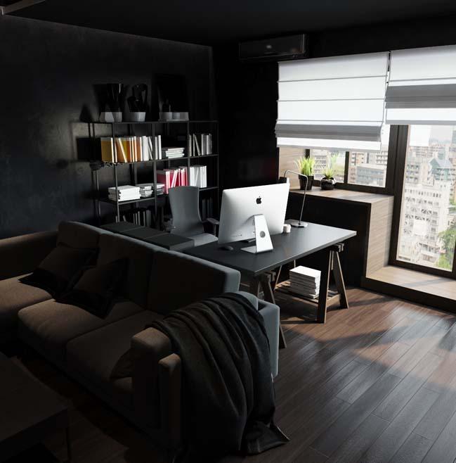 can ho chung cu voi noi that mau den 02 Ấn tượng căn hộ chung cư với nội thất và tường tạo có màu đen sâu thăm thẳm