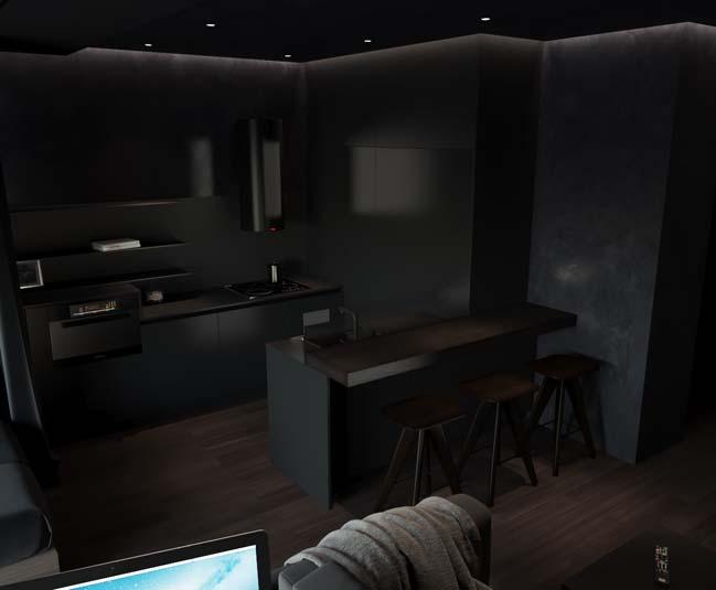 can ho chung cu voi noi that mau den 03 Ấn tượng căn hộ chung cư với nội thất và tường tạo có màu đen sâu thăm thẳm