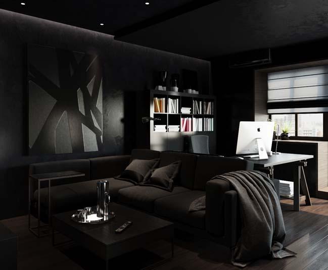 can ho chung cu voi noi that mau den 04 Ấn tượng căn hộ chung cư với nội thất và tường tạo có màu đen sâu thăm thẳm