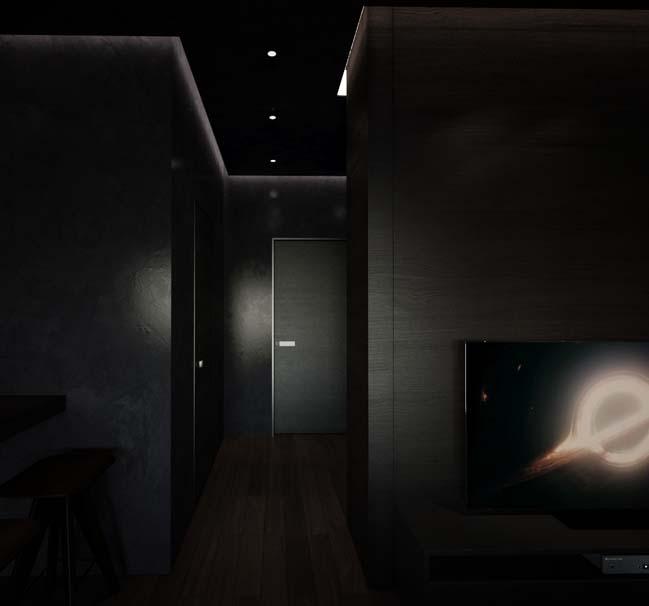 can ho chung cu voi noi that mau den 05 Ấn tượng căn hộ chung cư với nội thất và tường tạo có màu đen sâu thăm thẳm