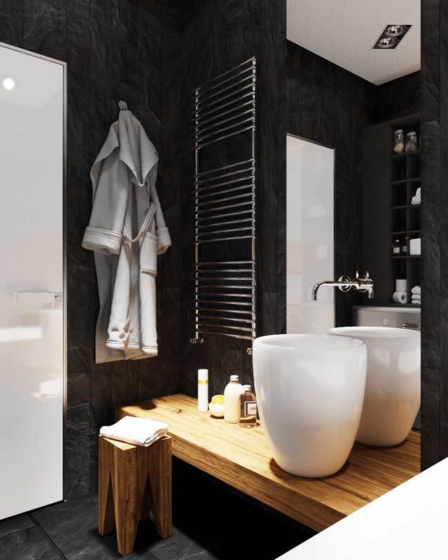 can ho chung cu voi noi that mau den 06 Ấn tượng căn hộ chung cư với nội thất và tường tạo có màu đen sâu thăm thẳm