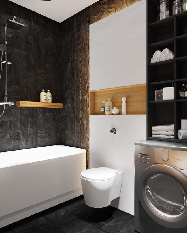 can ho chung cu voi noi that mau den 07 Ấn tượng căn hộ chung cư với nội thất và tường tạo có màu đen sâu thăm thẳm