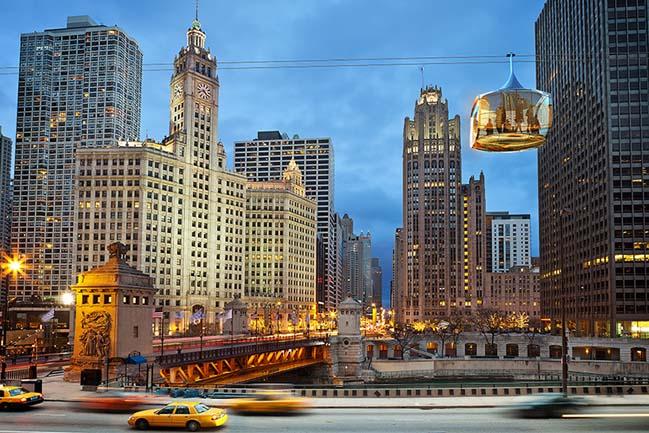 Video kiến trúc: Mạng lưới cáp treo trên không tại Chicago