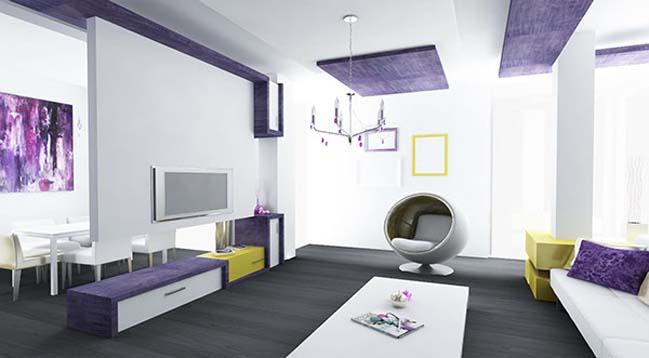 Nội thất căn hộ chung cư với bảng màu mới tím và vàng