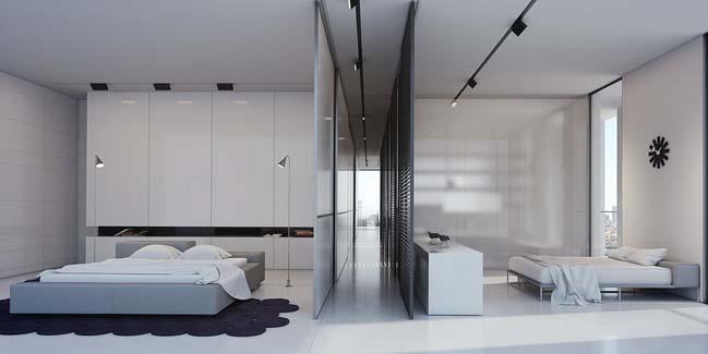 Căn hộ penthouse với tông màu trắng cực sang trọng