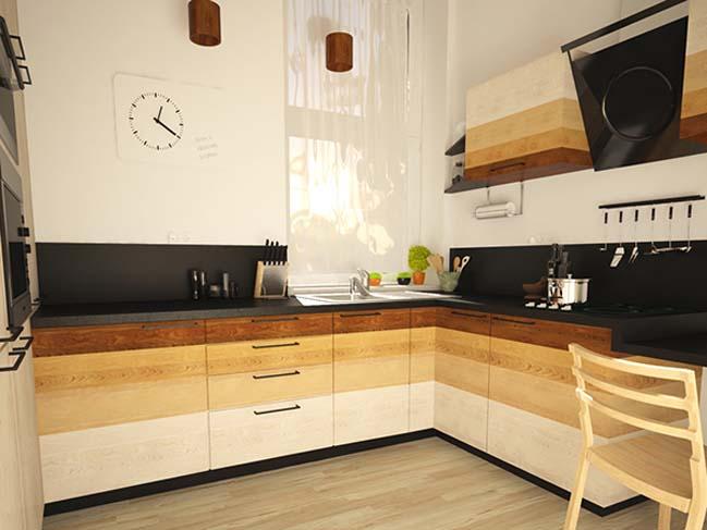 mau nha bep dep voi noi that go 12 Chia sẻ 20 mẫu nhà bếp đẹp với nội thất gỗ hiện đại