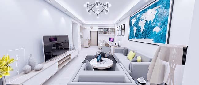 Mẫu thiết kế nhà đẹp với nội thất trắng sáng