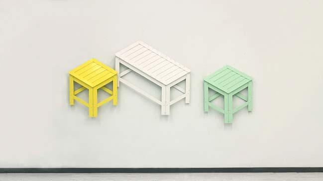 Ý tưởng biến chiếc ghế đẩu thành vật trang trí treo tường
