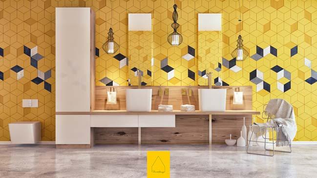 Tô điểm cho phòng tắm đẹp với hoa văn lập phương