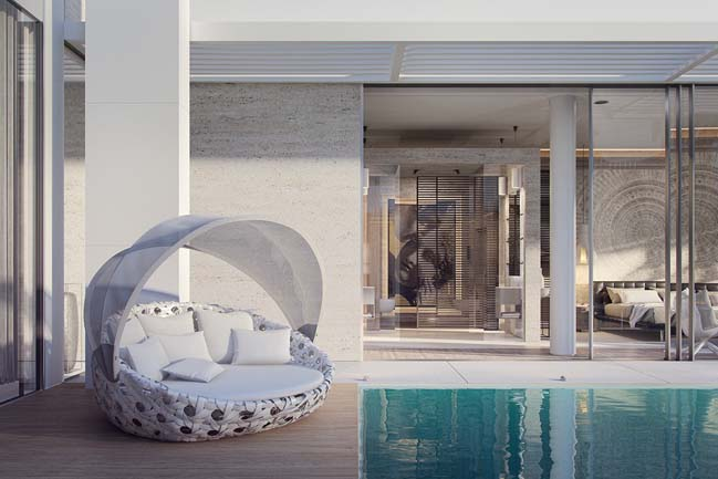 Mẫu thiết kế biệt thự đẹp 1 tầng với sân vườn trung tâm