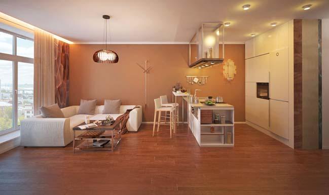 Mẫu nhà chung cư 1 phòng ngủ với tông màu nâu ấm áp