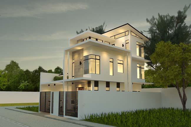 Mẫu thiết kế biệt thự đẹp 3 tầng hiện đại với tông màu trắng