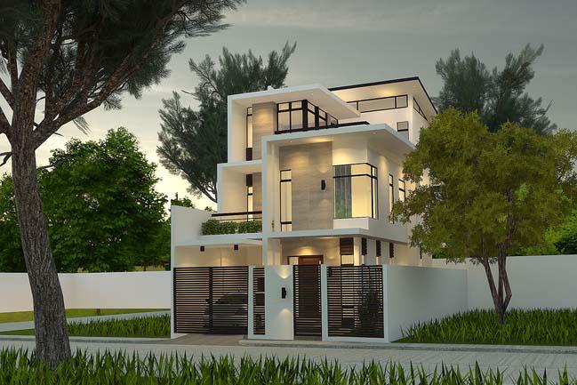 Mẫu Thiết kế biệt thự đẹp 3 tầng cao cấp với tông màu trắng