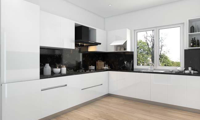 15 mẫu tủ bếp đẹp hình chữ L với tông màu trắng đen