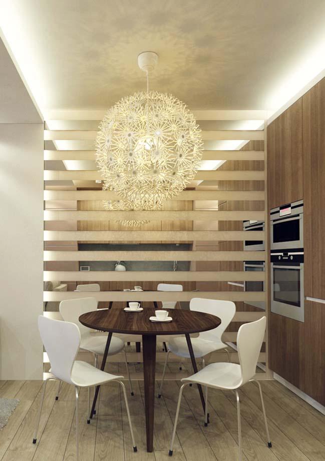Nội thất căn hộ chung cư với tông màu trung tính ấm cúng