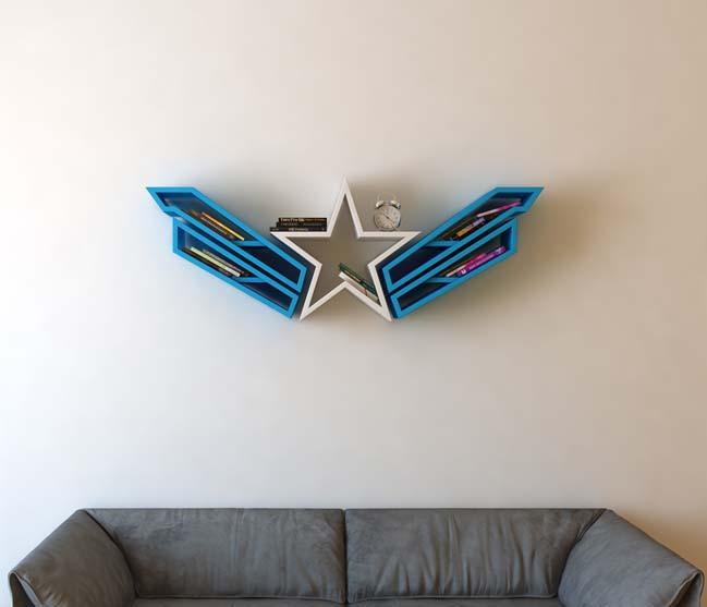 Mẫu kệ trang trí lấy cảm hứng từ logo của Captain America - Đội trưởng Mỹ