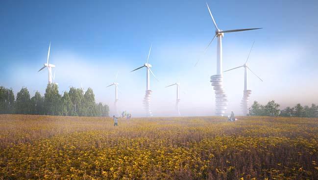 Ý tưởng kiến trúc tuabin gió kết hợp với nhà ở tương lai