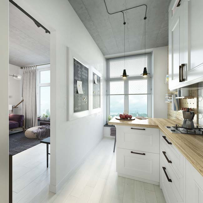 Mẫu thiết kế nội thất cho căn hộ 1 phòng ngủ 24m2