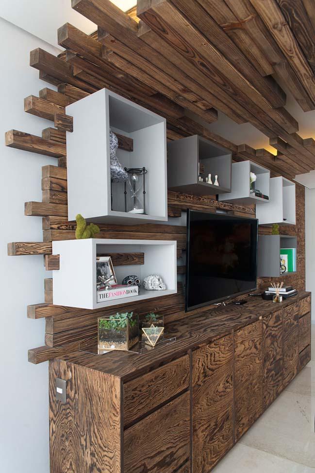 Mẫu phòng khách đẹp với nội thất gỗ ấn tượng