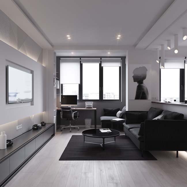 can ho chung cu 45m2 01 Mẫu thiết kế nội thất cho căn hộ chung cư 45m2 tối ưu hóa không gian