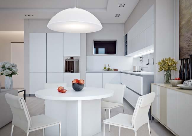 Nội thất căn hộ trắng sáng hợp với người có mệnh Kim và Thủy